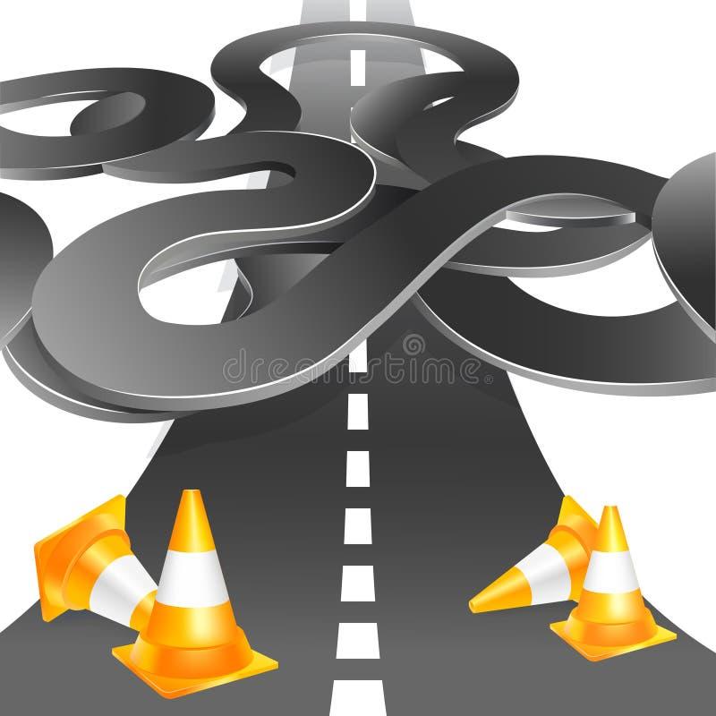 Route avec les cônes en construction du trafic. illustration de vecteur