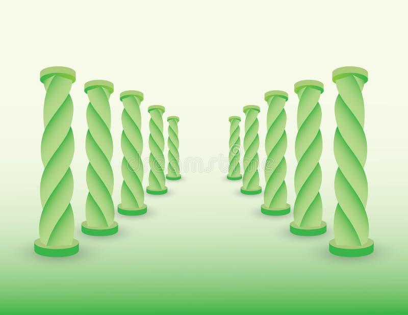 Route avec les colonnes ou les piliers verts pour montrer la destination pour le succès s'illustration de vecteur de la vie et d' illustration de vecteur