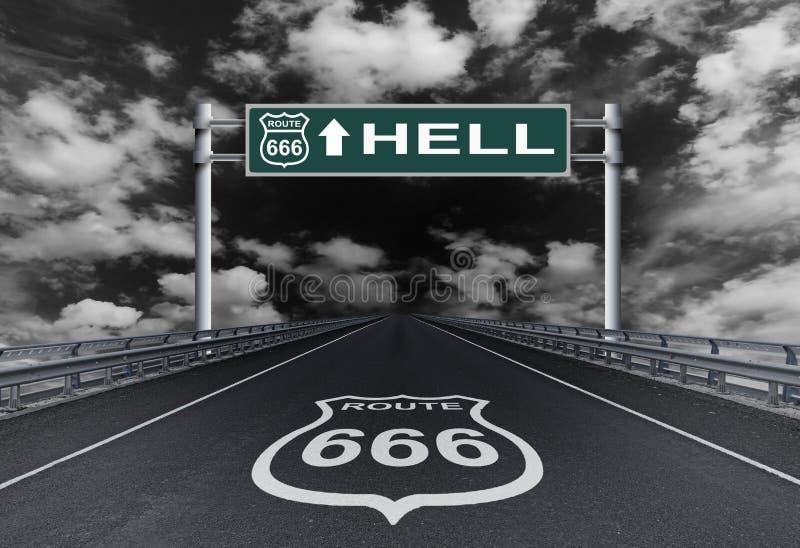 Route avec un enfer des textes sur le panneau routier photos stock