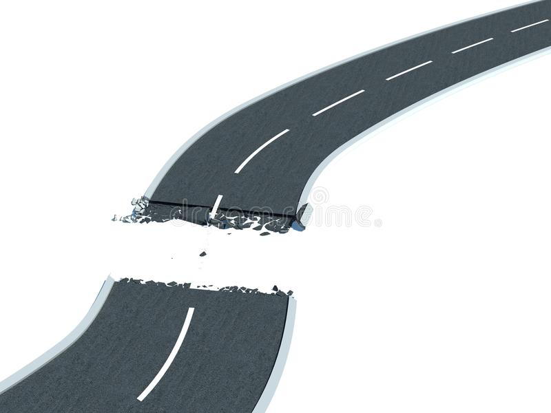 Route cassée illustration de vecteur