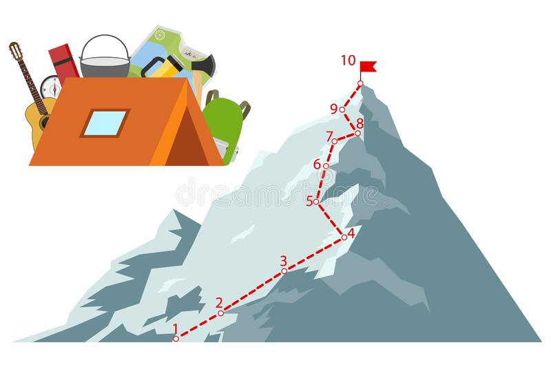 Route climber. Climber climb to the top. Way to success. vector illustration