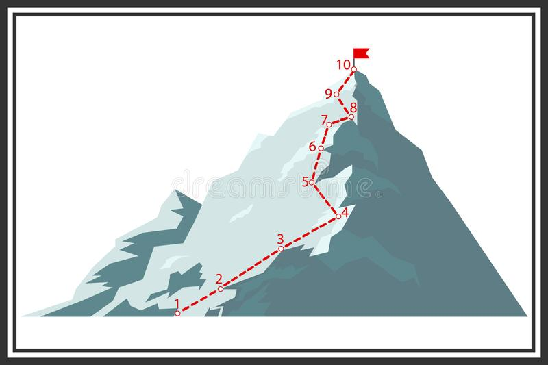 Route of climbing the mountain. Map of the route of the ascent to the mountain peak. stock illustration