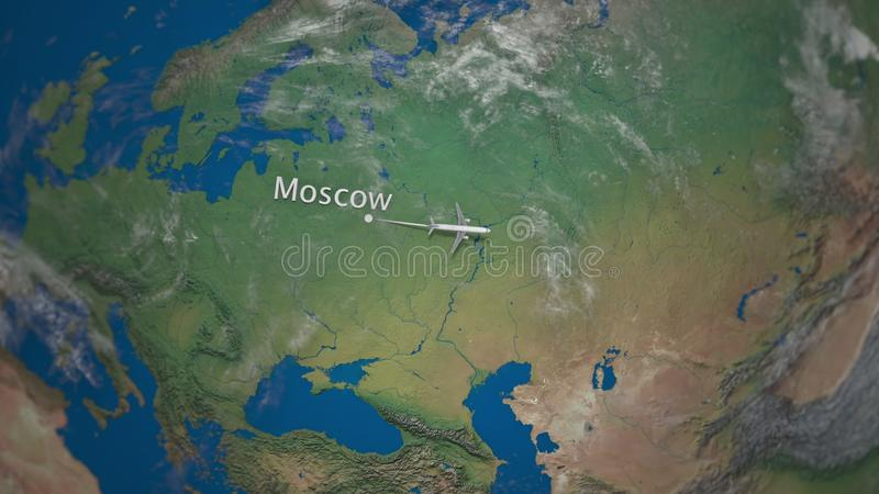 Route of commercial airplane flying from Moscow to Tokyo on the Earth globe. International trip intro animation vector illustration