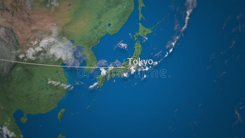 Route of commercial airplane flying to Tokyo on the Earth globe. International trip 3D rendering stock illustration