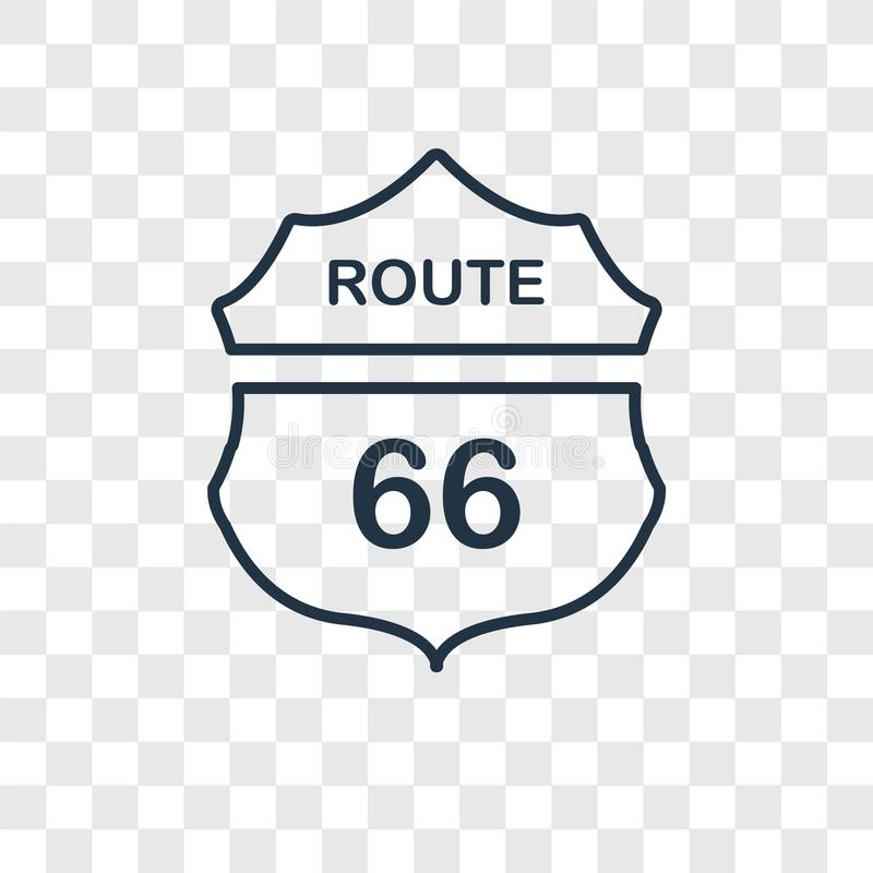 Route 66 concept vector linear icon isolated on transparent back vector illustration
