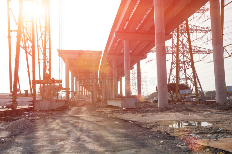 Route concrète en construction photo stock