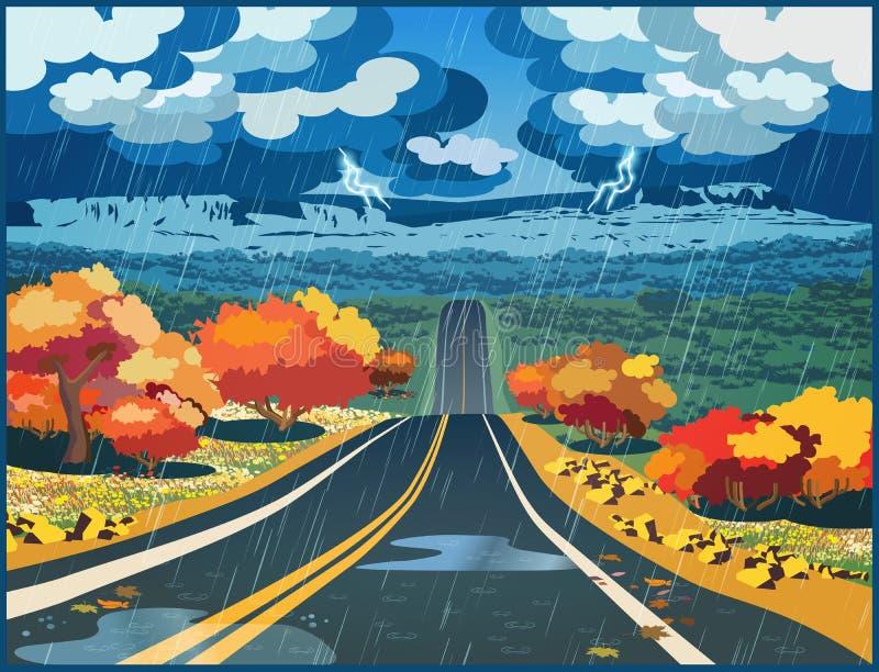 Route d'automne par la vallée illustration libre de droits