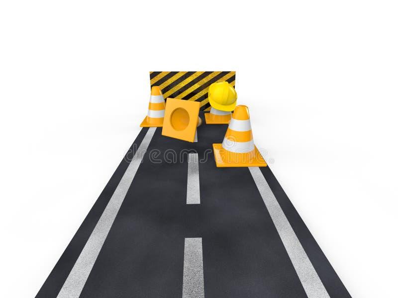 route 3d avec les cônes bouchés et de construction illustration de vecteur