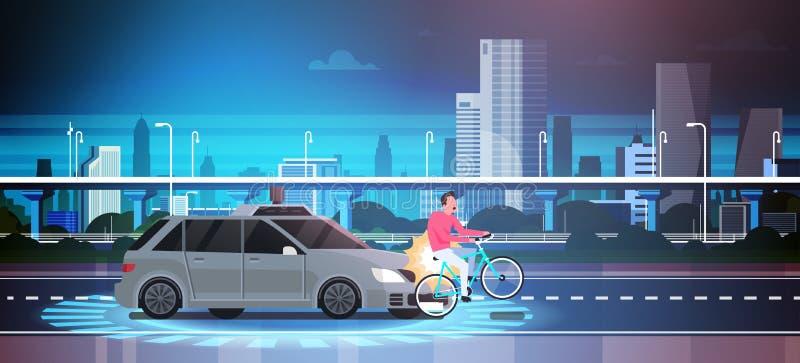 Route d'On Bike On de tueur à gage de voiture au-dessus d'accident d'accident de fond de ville illustration libre de droits