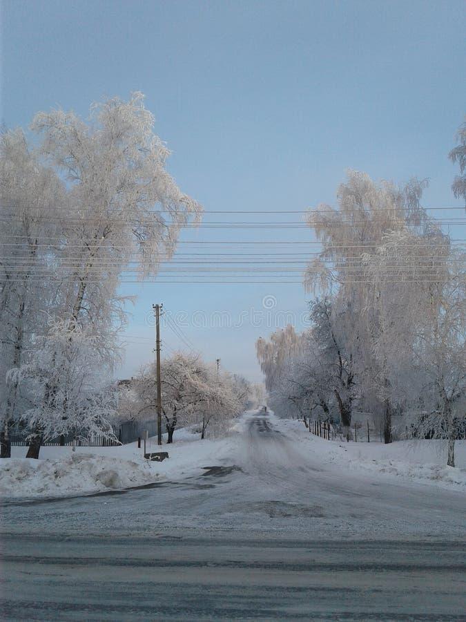 Route 2017 d'hiver de village de l'Ukraine images libres de droits