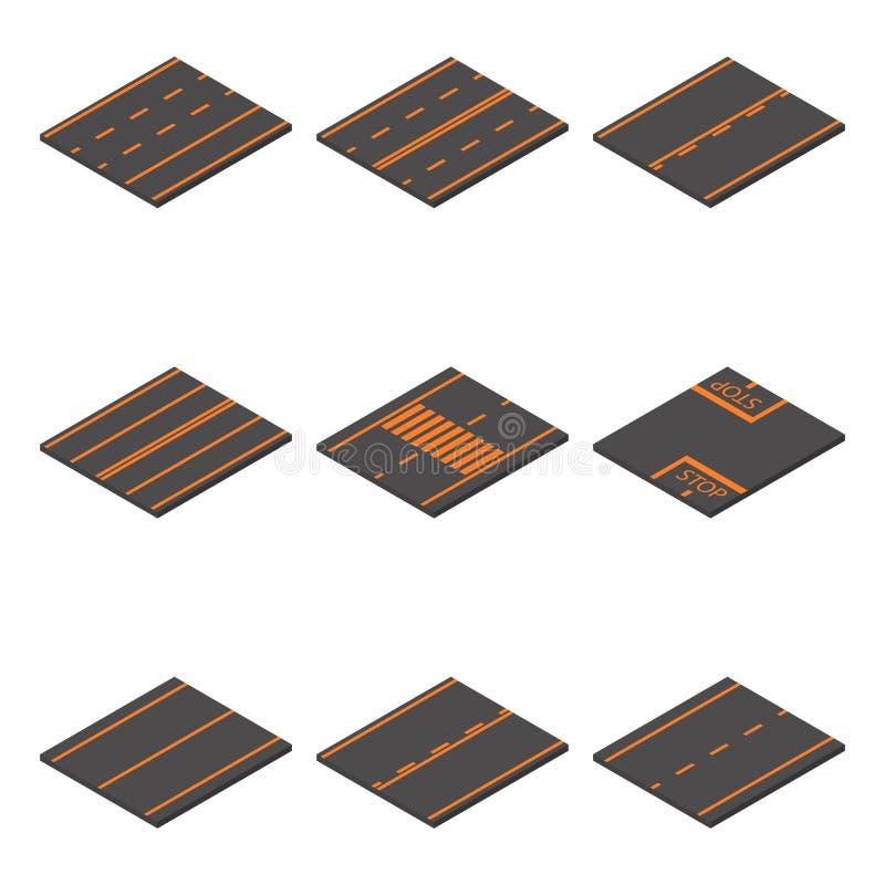 Route d'icônes isométrique, illustration de vecteur illustration libre de droits