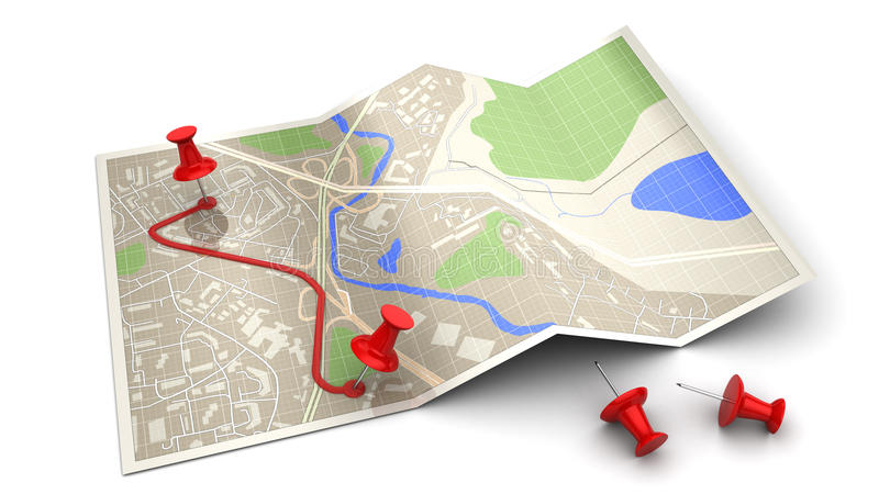 Route. 3d illustration of map and pins - route planning concept stock illustration