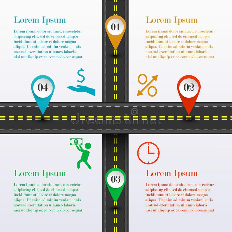 Route d'intersection infographic illustration stock