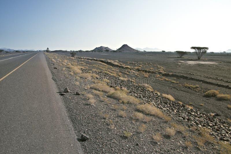route d'oued vers des collines en Oman photos libres de droits
