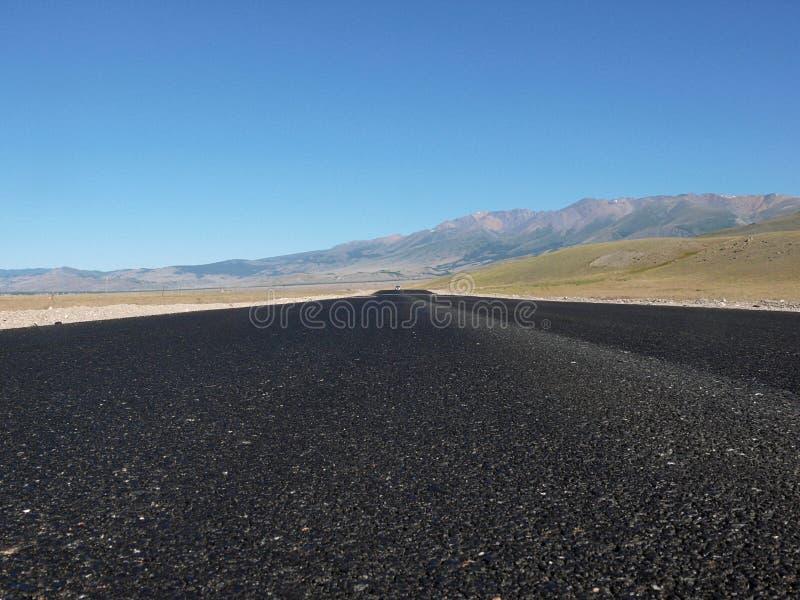 Route dans la steppe de Kurai photographie stock libre de droits