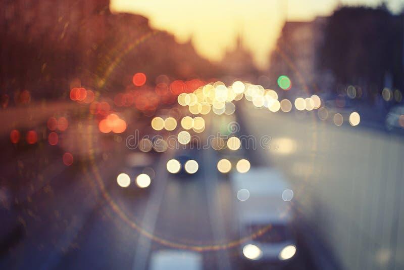 Route dans la ville avec la tache floue de mouvement image libre de droits