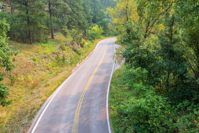 Route dans le Black Hills images libres de droits