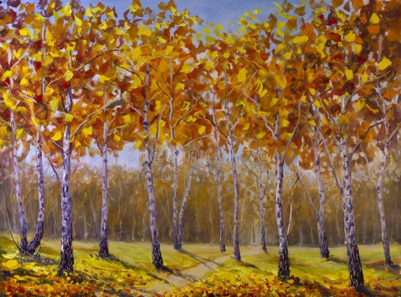 Route dans un verger de bouleau, feuilles d'automne tombées image libre de droits