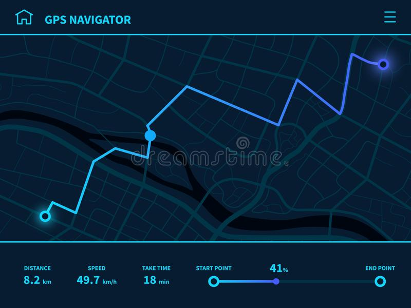 Route dashboard. Futuristic route UI, GPS tracking map navigator with city street, mobile interface mapping technology vector illustration