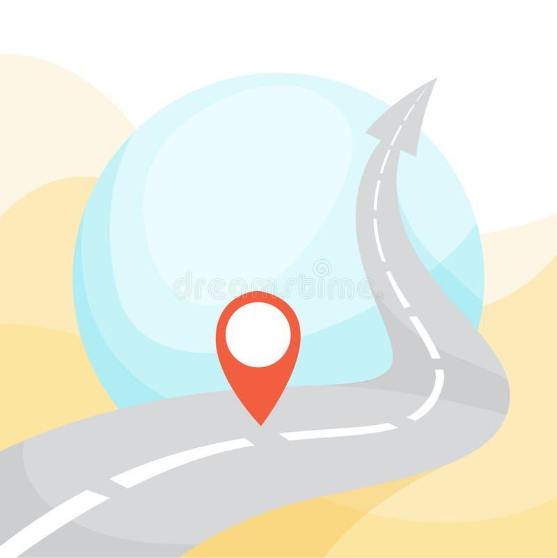 Route de route avec GPS se connecter le Id?e de la navigation illustration libre de droits