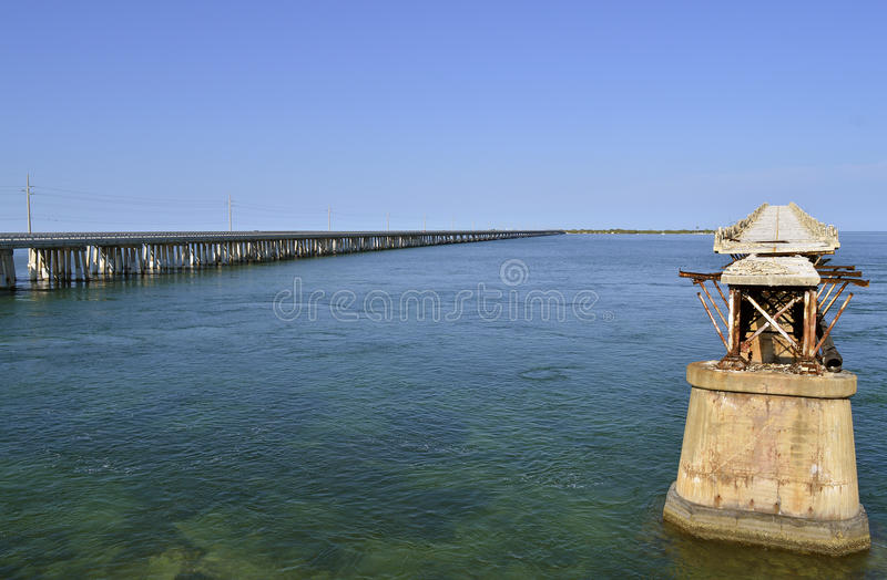 Route de Bahia Honda Key et pont en rail images stock