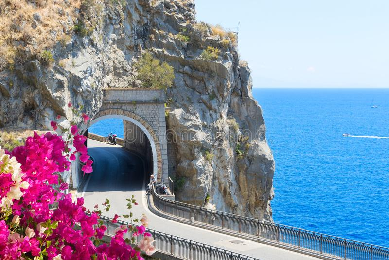 Route de côte d'Amalfi, Italie images libres de droits