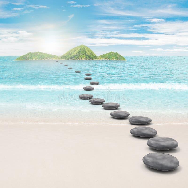 Route de caillou vers l'île photographie stock libre de droits