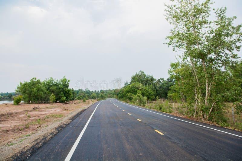 Route de campagne allant par l'allée d'arbre photos stock