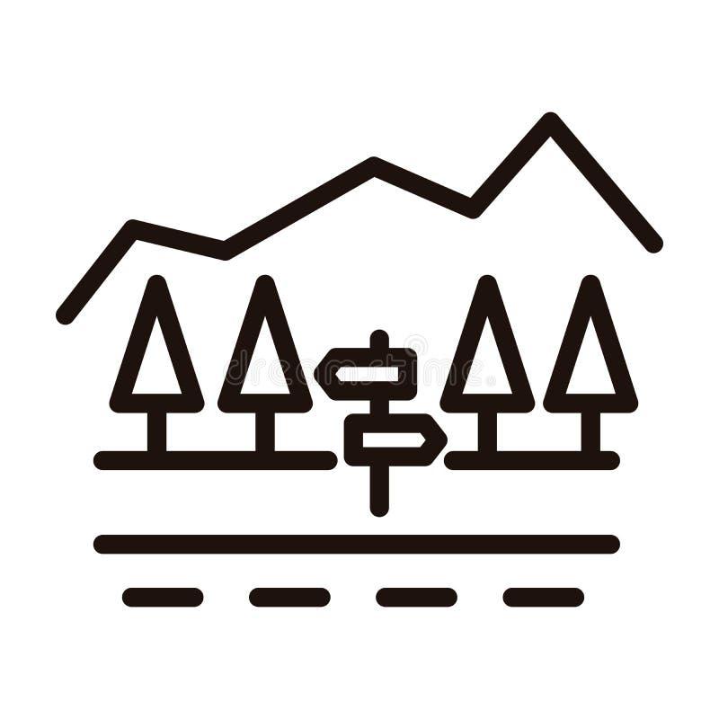 Route de campagne avec le signpoast, les arbres et le paysage minimal de montagne Ligne mince de vecteur illustration d'icône pou illustration stock