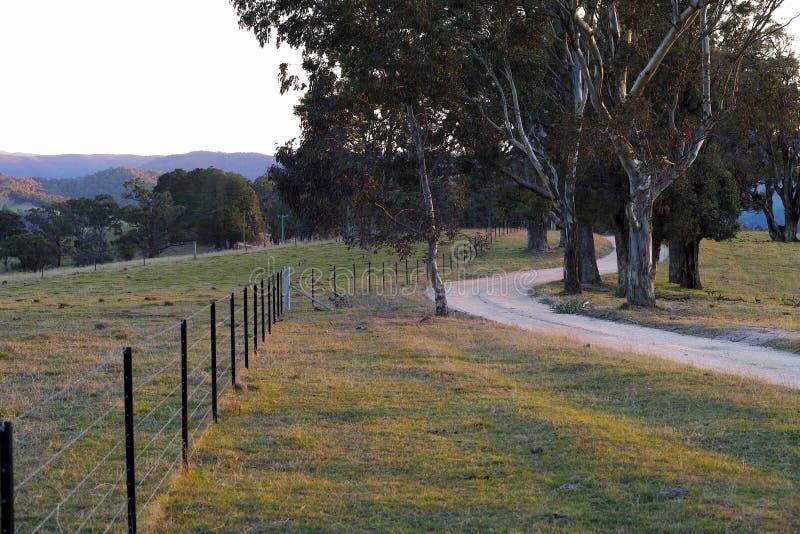 Route de campagne de enroulement au coucher du soleil en Australie photographie stock