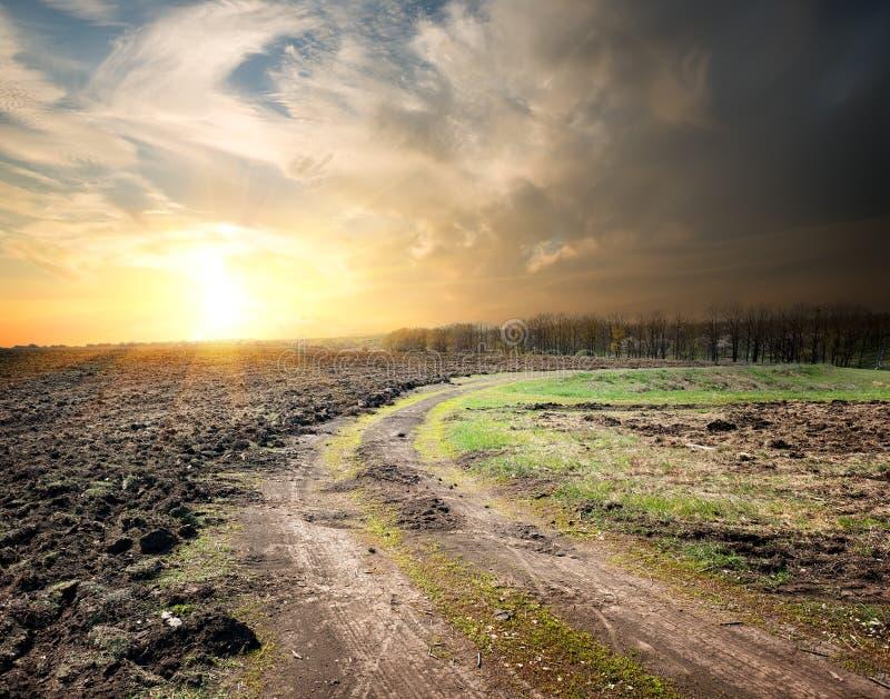 Route de campagne et terre labourée image libre de droits