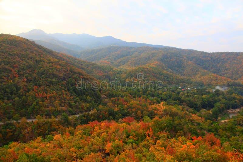 Route de campagne par la montagne et le petit village qui a la forêt automnale colorée de paysage de chute, Chiang Mai rural, Tha photos stock