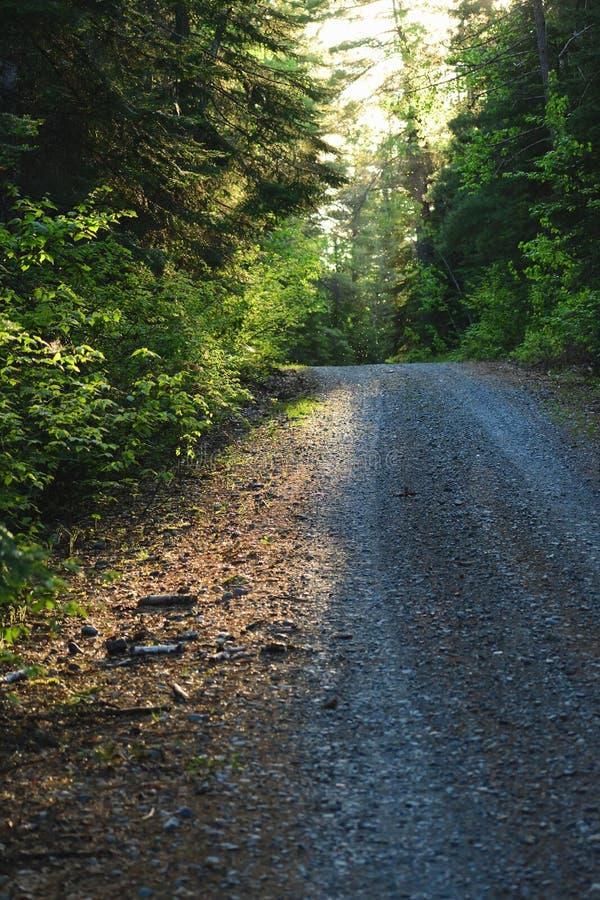 Route de cottage le soir photographie stock libre de droits