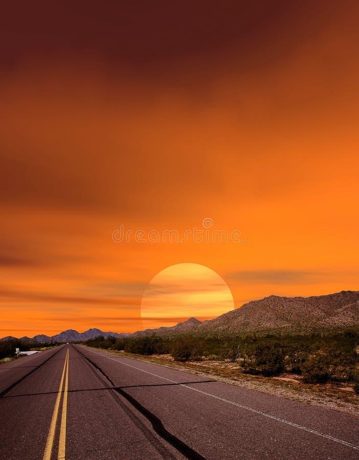 Route de coucher du soleil photos stock
