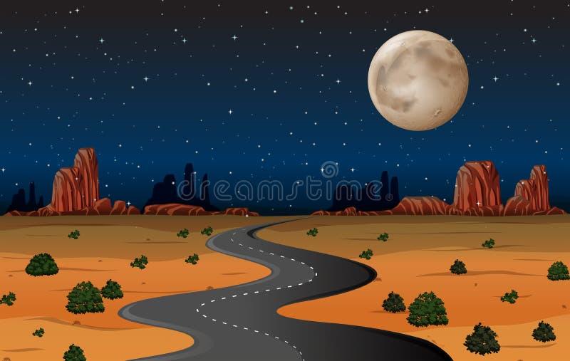 Route de désert de l'Arizona la nuit illustration stock