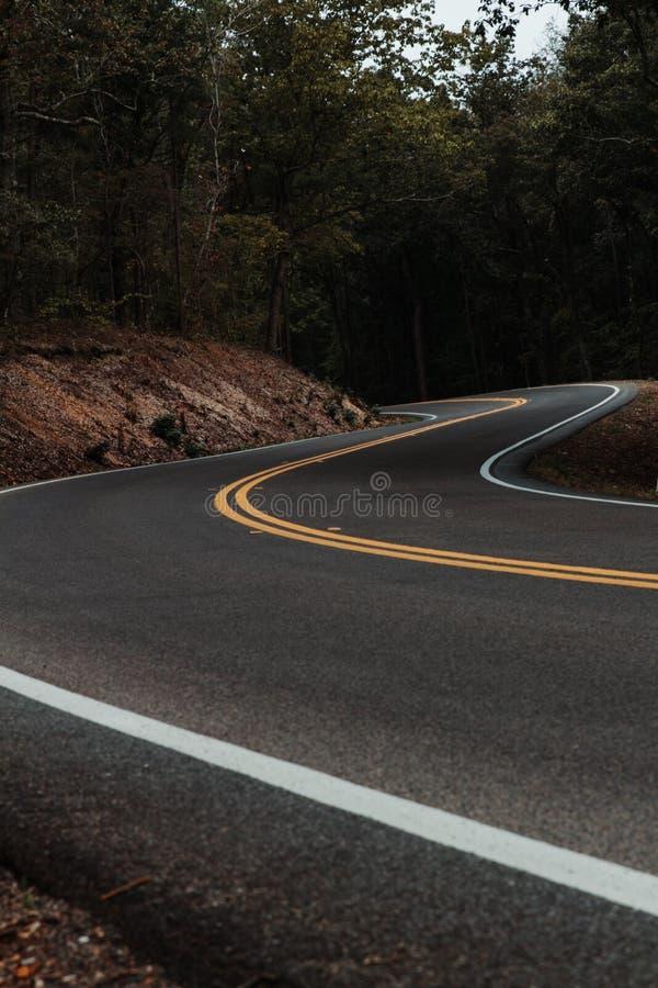 Route de enroulement de montagne par la forêt images stock