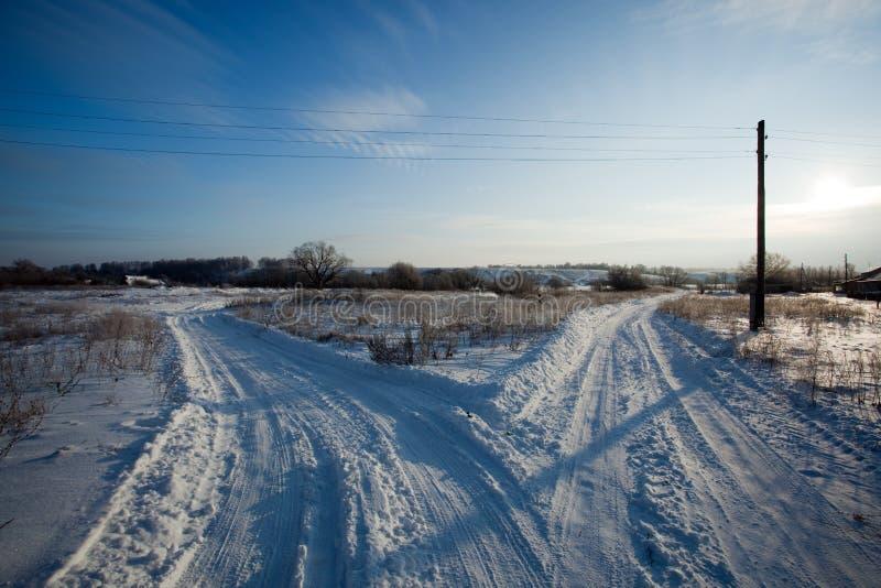 Route de l'hiver. photos libres de droits