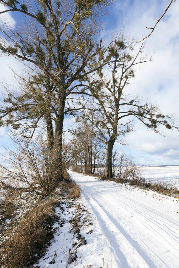 Route de Milou, hiver images stock