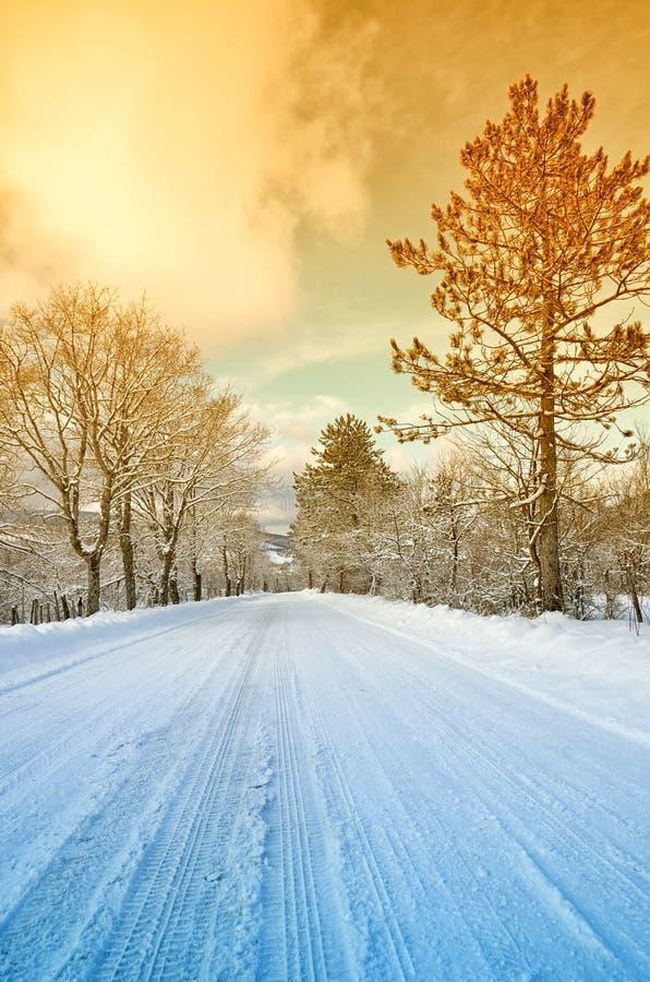 Route de montagne avec la neige photos stock