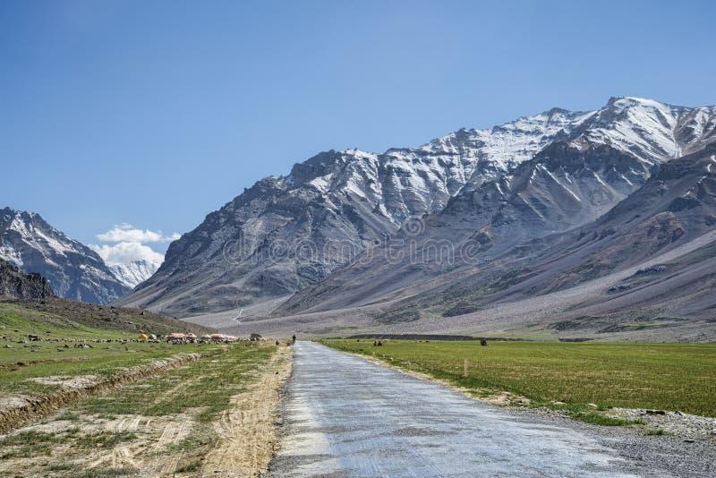 Route de montagne parmi des crêtes de neige photographie stock libre de droits