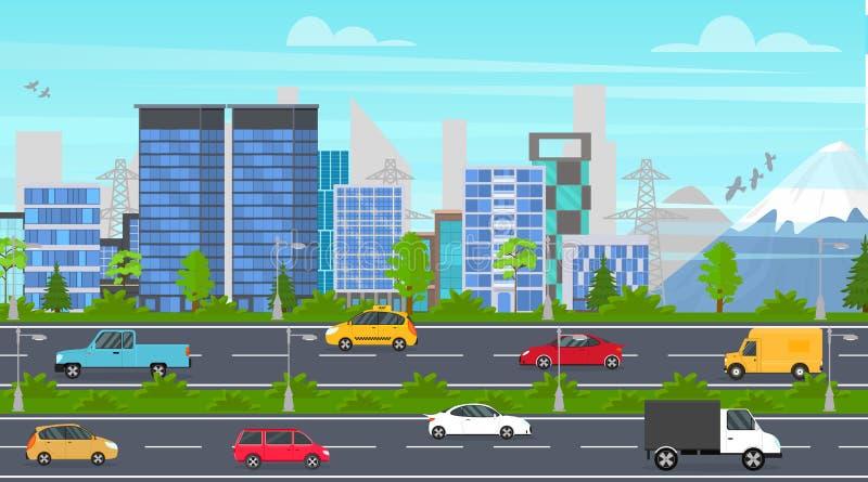 Route de panorama de ville de bande dessinée Vecteur illustration stock