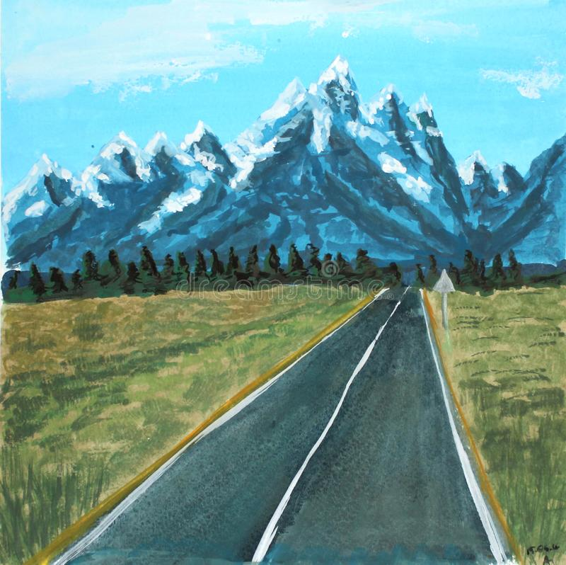 Route de paysage d'aquarelle aux montagnes illustration de trame pour la conception photos stock