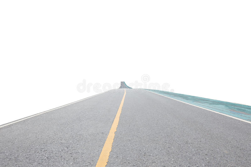 Route de route goudronnée et de vélo d'exercice d'isolement sur le fond blanc photos stock