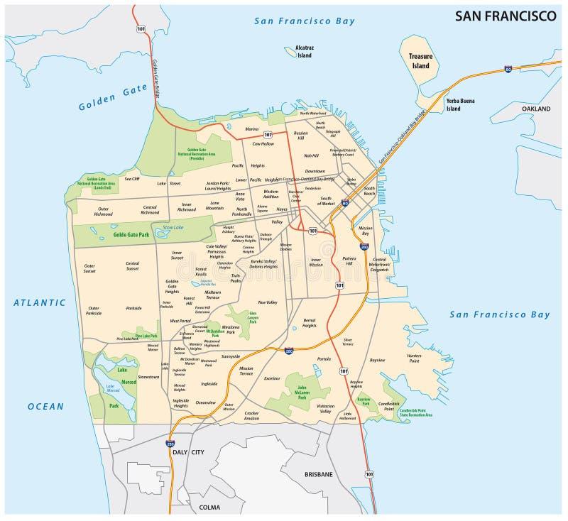 Route de San Francisco et carte de voisinage illustration stock