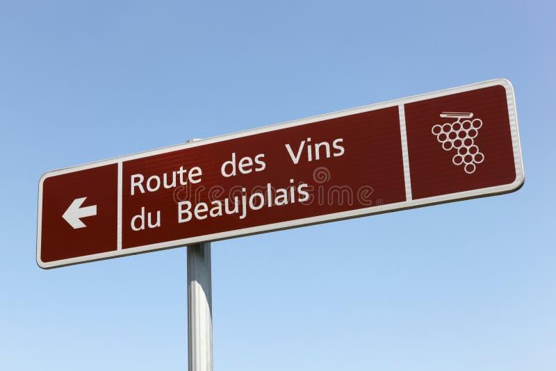 Route de signe de vin Beaujolais image libre de droits
