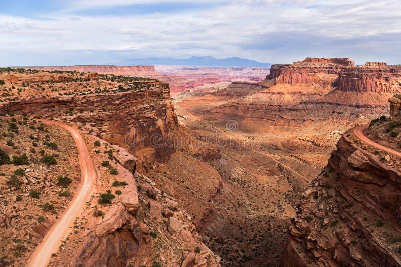 Route de traînée de Shafer en parc national de Canyonlands photographie stock