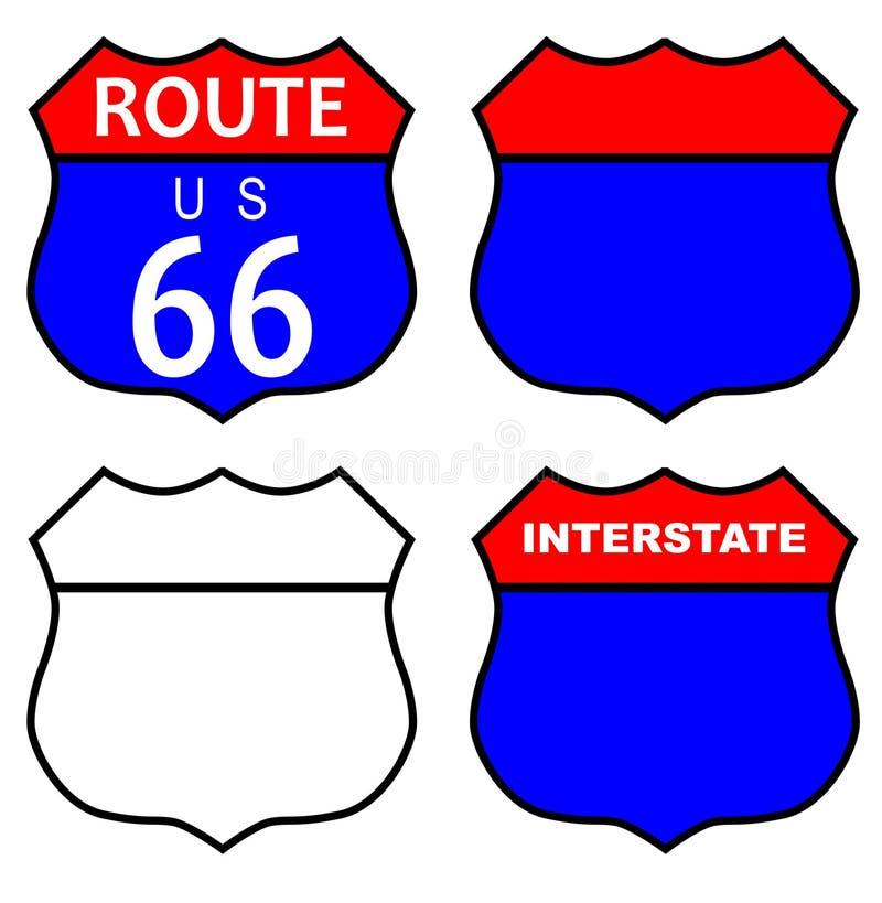 Route 66 de un estado a otro firma adentro diversas condiciones libre illustration