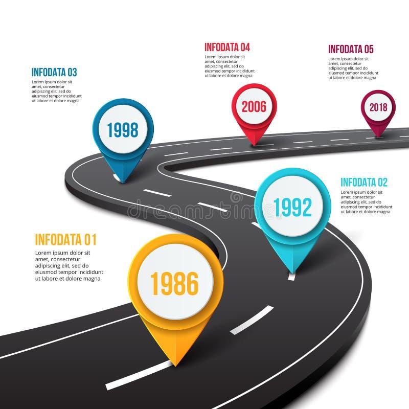 Route de vecteur infographic avec l'indicateur de goupille illustration stock