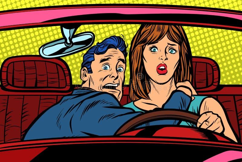 Route de voiture d'accidents Conducteur drôle d'homme et de femme illustration de vecteur