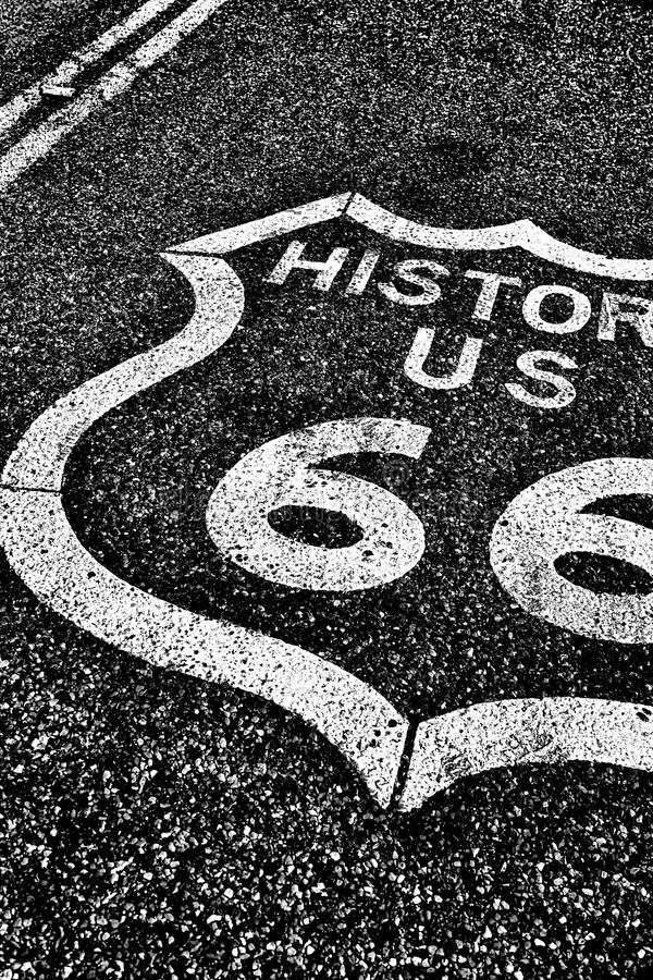 Route 66 der historischen Straße der staatlichen Autobahn lizenzfreies stockbild